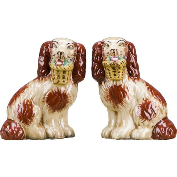 Staffordshire Reproduction Pair of Orange Dog Figurines W/ Flowers In Mouth