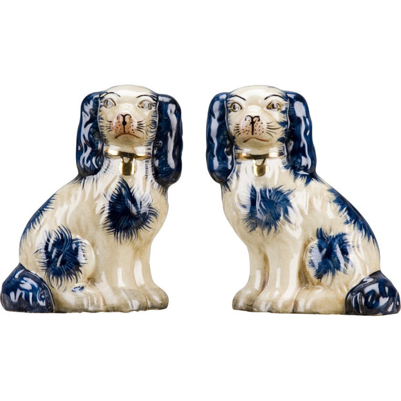 Staffordshire Reproduction King Charles Spaniel Blue Dog Pair Small Figurines