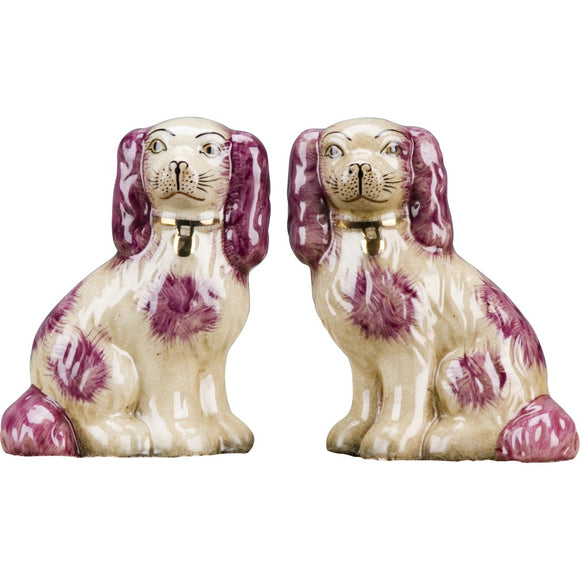 Staffordshire Reproduction King Charles Spaniel Red/Pink Dog Pair Small Figurines