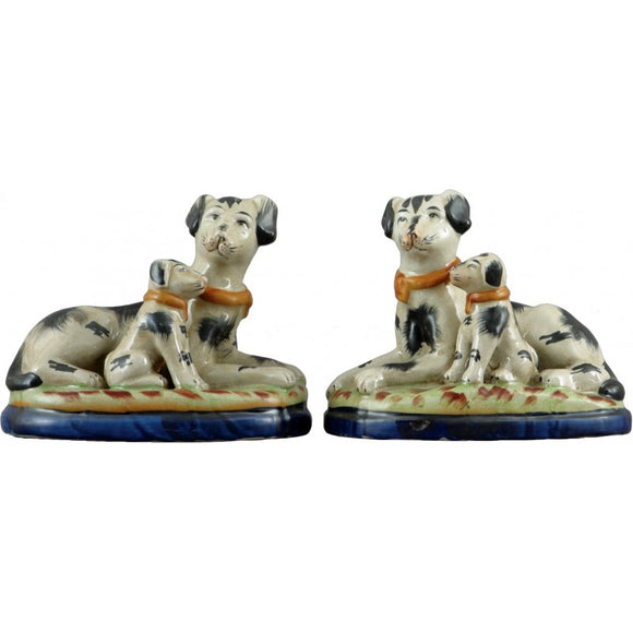 *New* Staffordshire Reproduction Black Dogs With Puppy Figurines, Set of 2