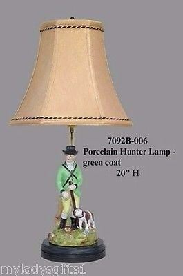 Porcelain Green Hunter Lamp With Dog