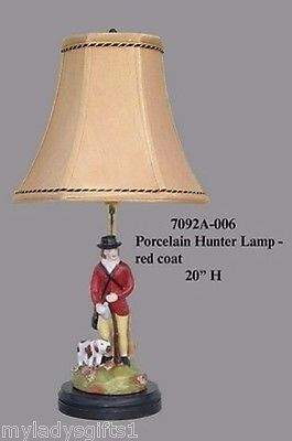 Porcelain Red Hunter Lamp With Dog