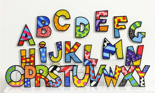 ROMERO BRITTO LETTERS, SPELL YOUR NAME OR FAVORITE SAYING WITH THESE CREATIVE ART LETTERS