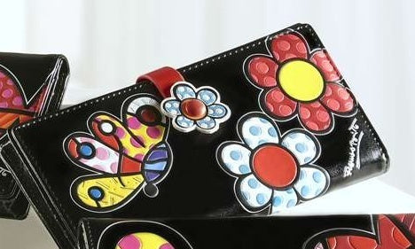 ROMERO BRITTO LARGE BLACK WITH BUTTERFLY Wallet /Billfold