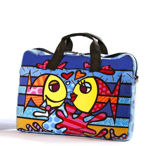 "ROMERO BRITTO LARGE ""DEEPLY IN LOVE"" FISH LAPTOP CARRYING CASE"