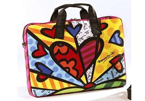 ROMERO BRITTO LARGE LAPTOP CARRYING CASE WITH HEARTS