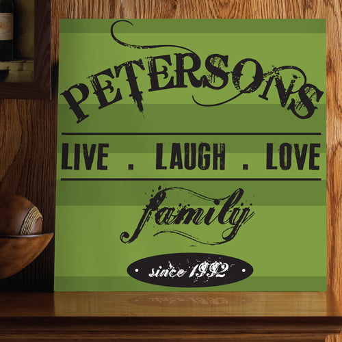 Live.Laugh.Love Personalized Green Canvas Sign