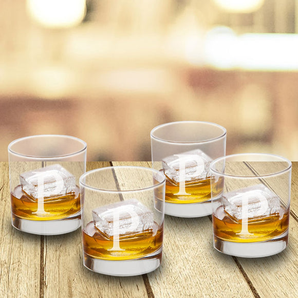 Personalized Low Ball Glasses With Single Initial - Set of 4