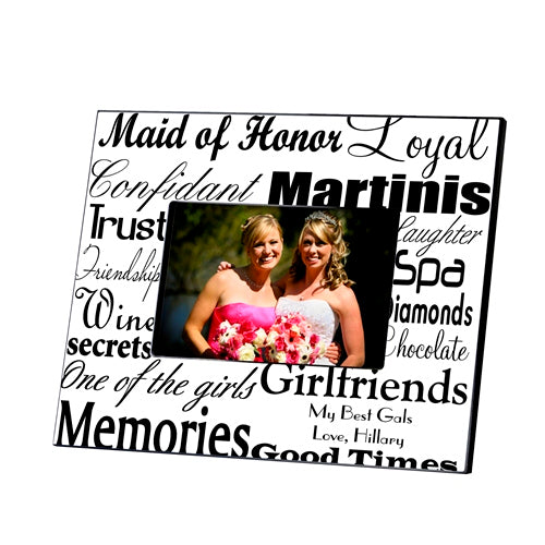 Personalized Maid of Honor Black On White Frame