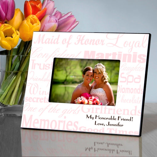 Personalized Maid of Honor Pink On White Frame