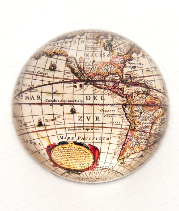 Glass Dome Vintage World Map Paper Weight/Paperweight