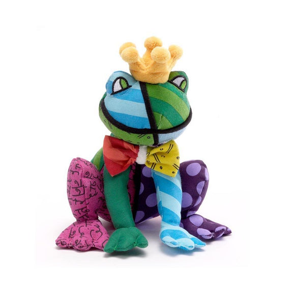 Romero Britto Small Plush Frederic The Frog Prince With Crown