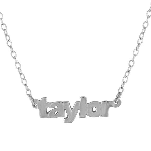 Mini Nameplate Necklace In Sterling Silver