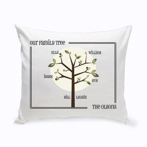 Personalized Modern Family Tree Throw Pillow
