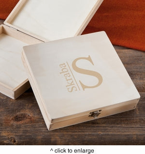 Wooden Keepsake or Cigar Box With Modern Monogram