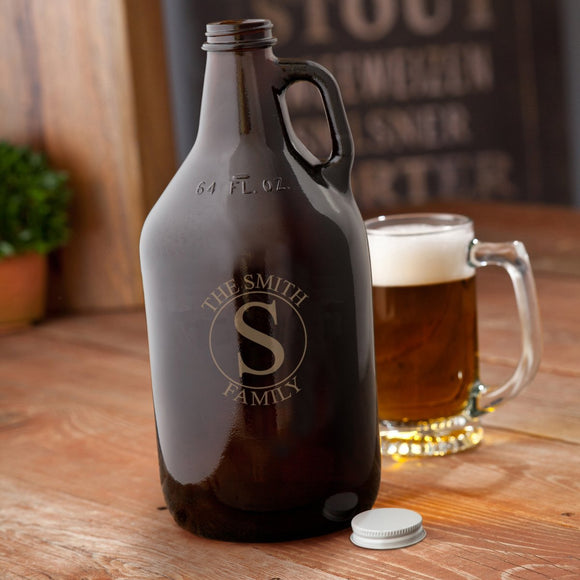 Monogrammed Circle Design Amber Beer Growler