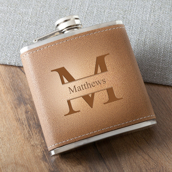 Monogrammed Tan Hide Stitched Flask With Stamped Design