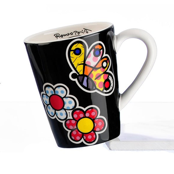 Romero Britto White Handled Mug- Butterfly And Flowers