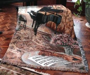 Music Room With Piano Tapestry Throw