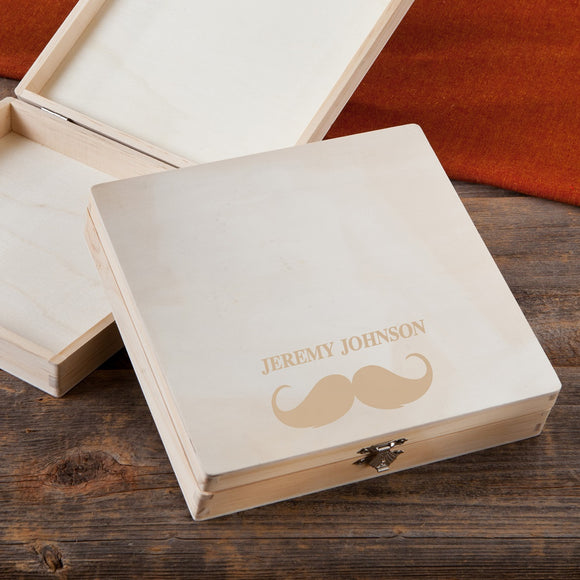 Wooden Keepsake or Cigar Box With Mustache Design