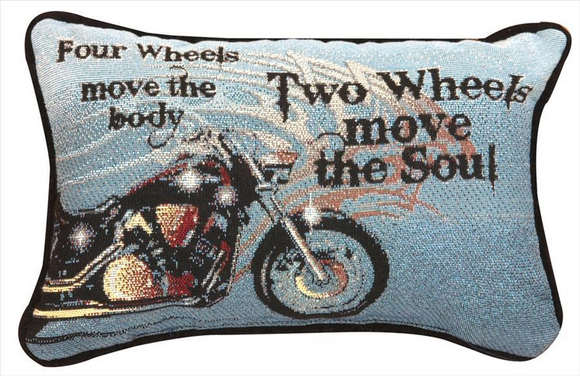 Four Wheels Tapestry Word Pillow