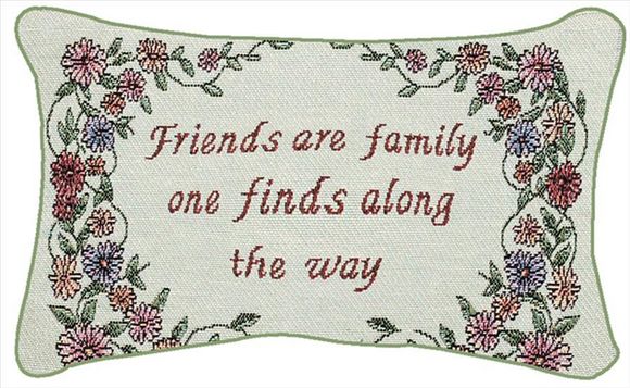 Friends Are Family Tapestry Word Pillow