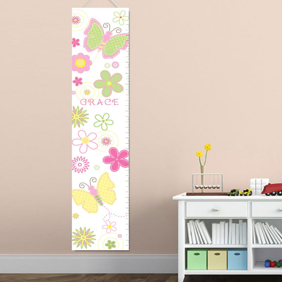 Personalized Pastel Butterflies Growth Chart