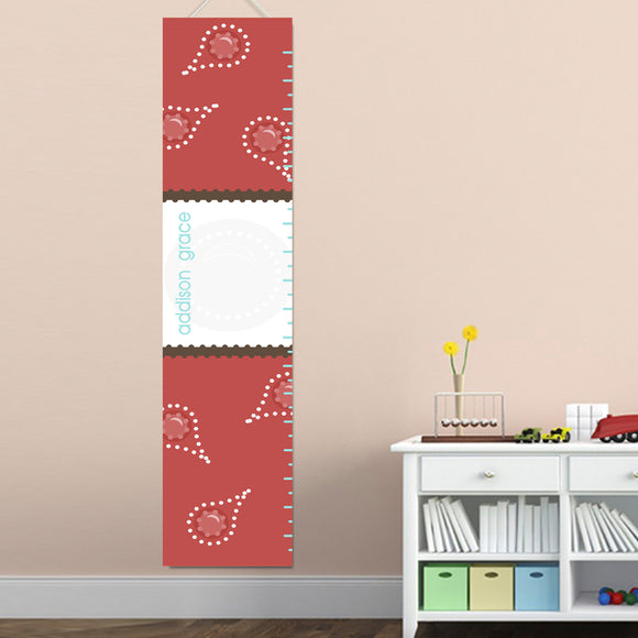 Personalized Red Paisley Growth Chart