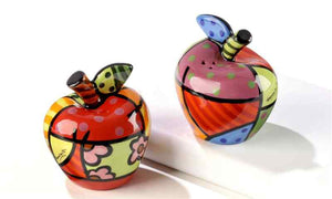 ROMERO BRITTO CERAMIC APPLES SALT & PEPPER SHAKERS