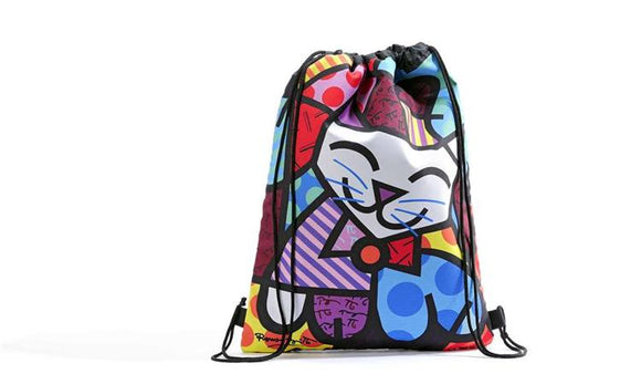 Romero Britto Happy Cat Design Drawstring Bag