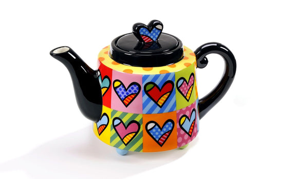 ROMERO BRITTO CERAMIC MULTI-HEARTS TEAPOT