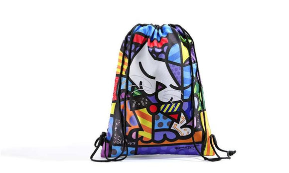 Romero Britto Cat Design Drawstring Bag