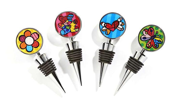 ROMERO BRITTO SET OF 4 ROUND BOTTLE STOPPERS