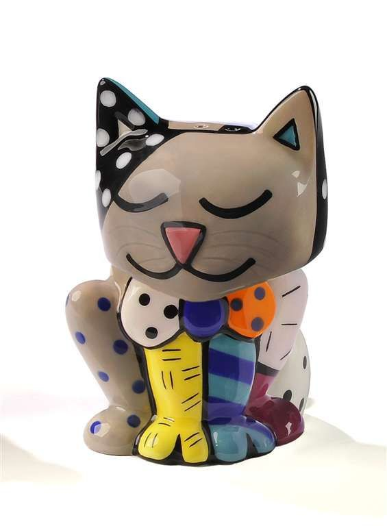 ROMERO BRITTO CERAMIC CAT SALT & PEPPER SHAKERS