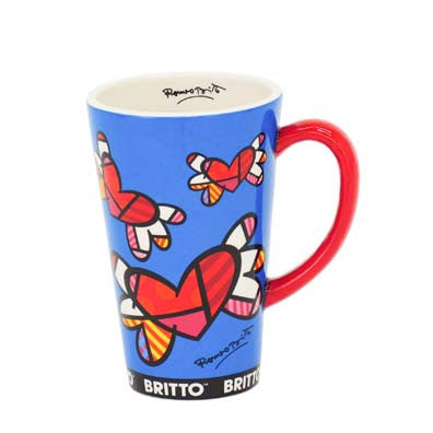Romero Britto Tall Mug- Flying Hearts