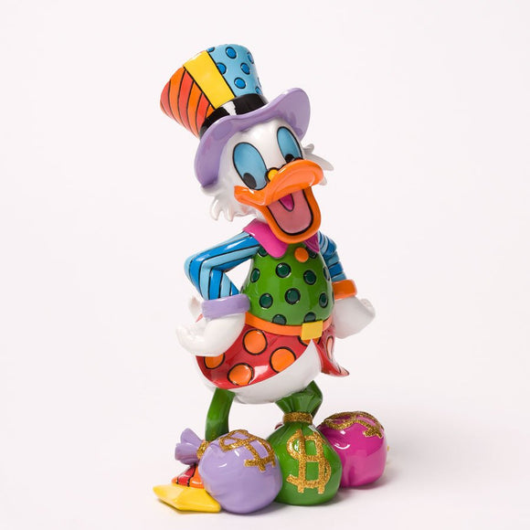 ROMERO BRITTO DISNEY UNCLE SCROOGE W/ MONEY BAGS FIGURINE