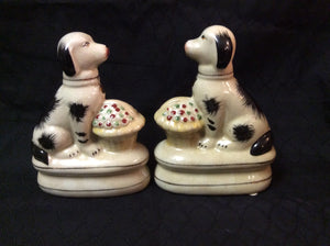 Staffordshire King Charles Spaniel Dogs with Flower Basket Figurines