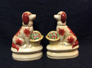Staffordshire King Charles Spaniel Rust Colored Dogs w/ Flower Basket Figurines