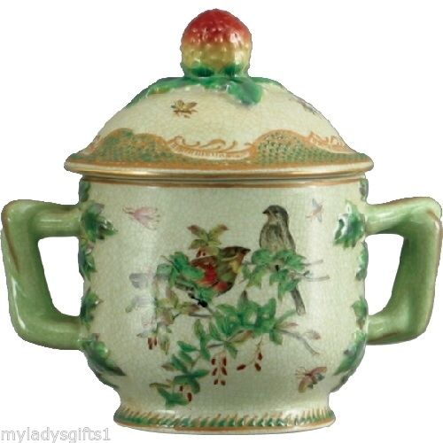 Ceramic Emerald Garden Oriental Decorative Box Green / Gold with Birds