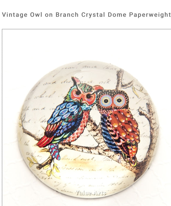 Glass Dome Vintage Owl On Branch Paper Weight/Paperweight