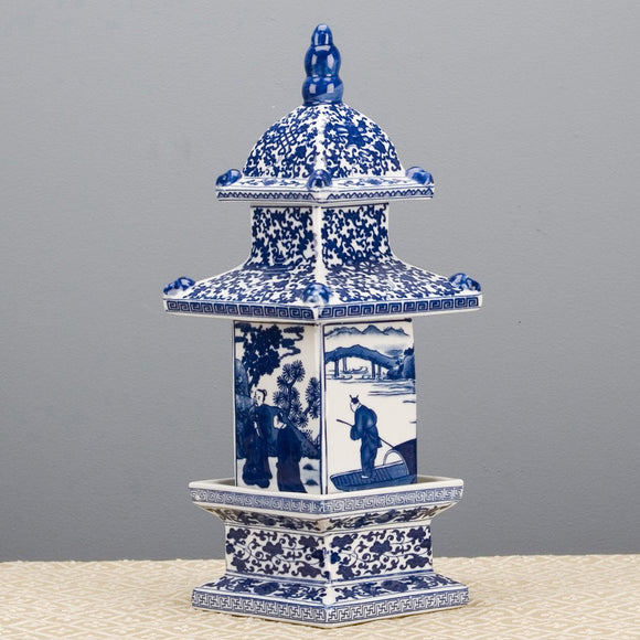 Blue & White Large Porcelain Pagoda Figurine/Box/Jar, 16