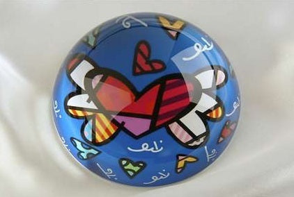 ROMERO BRITTO PAPERWEIGHT BLUE HEART WITH WINGS DESIGN