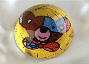 ROMERO BRITTO PAPERWEIGHT YELLOW WITH TEDDY BEAR DESIGN