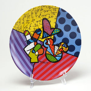 ROMERO BRITTO PEACE LOVE MICKEY PLATE