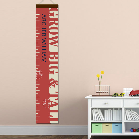 Personalized Big & Tall Baseball Growth Chart