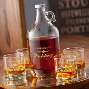 Personalized Distillery Growler Jug Set In Gold Ink