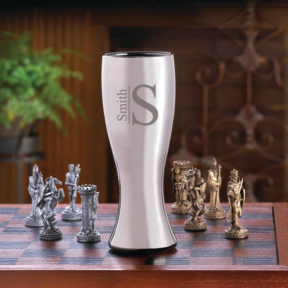 Personalized Gunmetal Pilsner With Modern Design