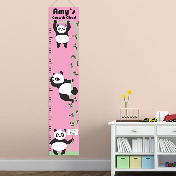 Personalized Hanging Girl Pandas Growth Chart