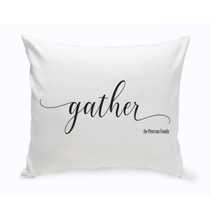 "Personalized Modern Farmhouse ""Gather"" Throw Pillow"