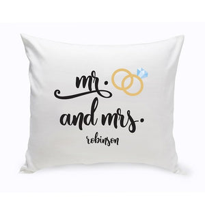 "Personalized ""Mr. & Mrs. Wedding"" Throw Pillow"